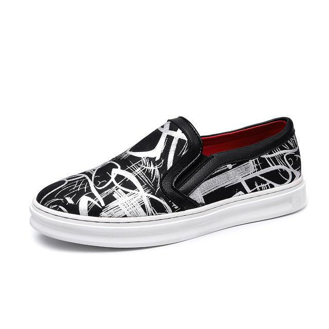 Printed slip-on sneaker black-silver