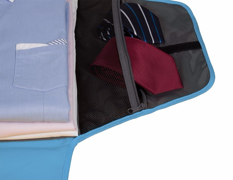 Fold And Pack Shirt Organizer Blue Open Mesh Pocket With Ties