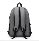 Nylon Backpack Grey Rear With Shoulder Straps