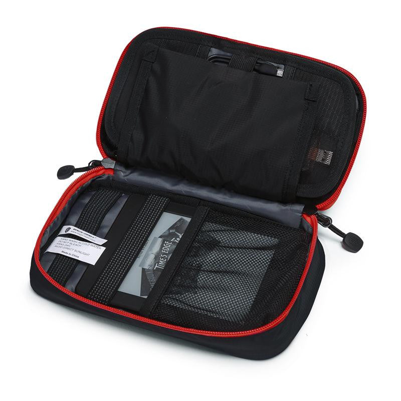 Digital Accessories Travel Bag / Organizer Black And Red Open With Packed Items Second Layer