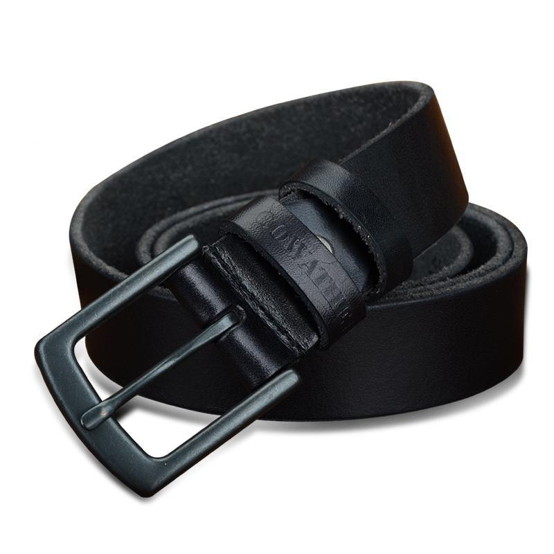 3.3cm Men's Cowhide Leather Belt Black