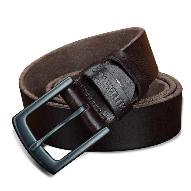 3.3cm Men's Cowhide Leather Belt Coffee
