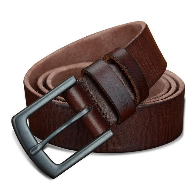 3.3cm Men's Cowhide Leather Belt Brown