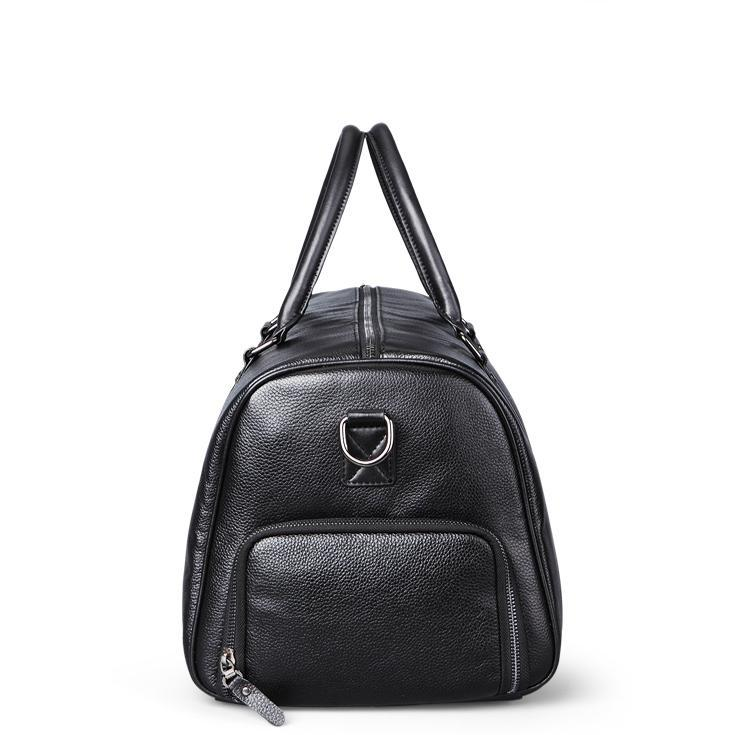 Leather Weekend Travel Bag Black Side