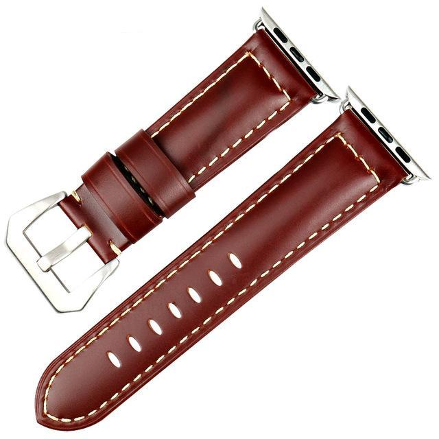 Genuine Leather Watch Band For Apple Watch, 42MM Red Brown