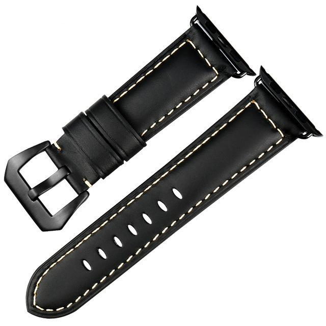 Genuine Leather Watch Band For Apple Watch, 38MM Black
