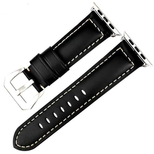 Genuine Leather Watch Band For Apple Watch, 42MM Black
