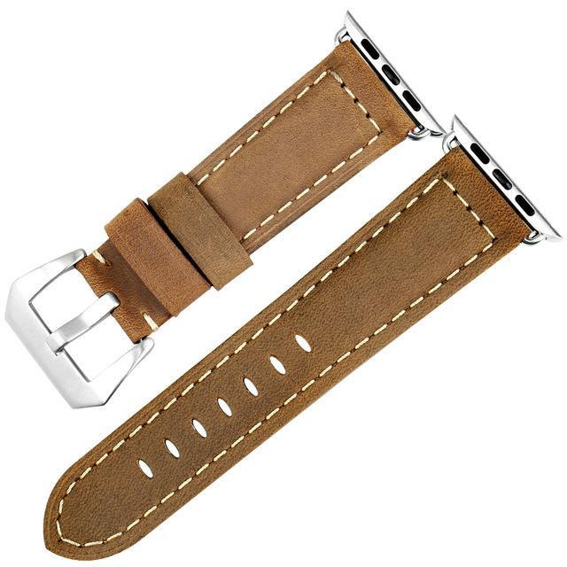 Genuine Leather Watch Band For Apple Watch, 42MM Brown