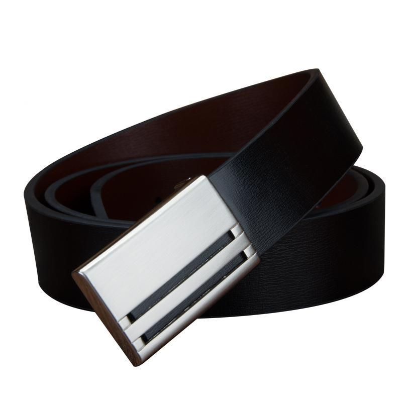 3.3cm Men's Genuine Leather Belt Black With Solid Metal Buckle