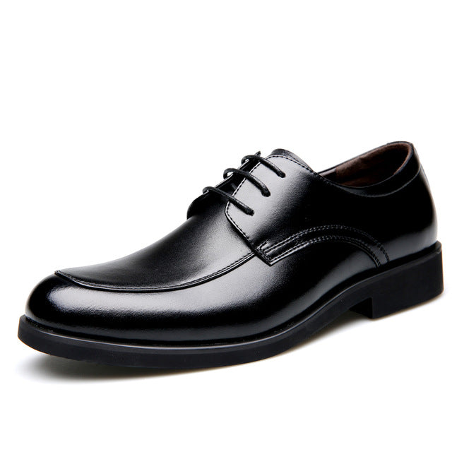 Genuine Leather Derby Shoes Black