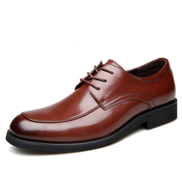 Genuine Leather Derby Shoes Brown