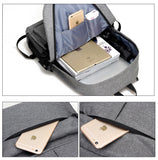 Nylon Backpack Grey Open With Packed Items And External Phone Pocket