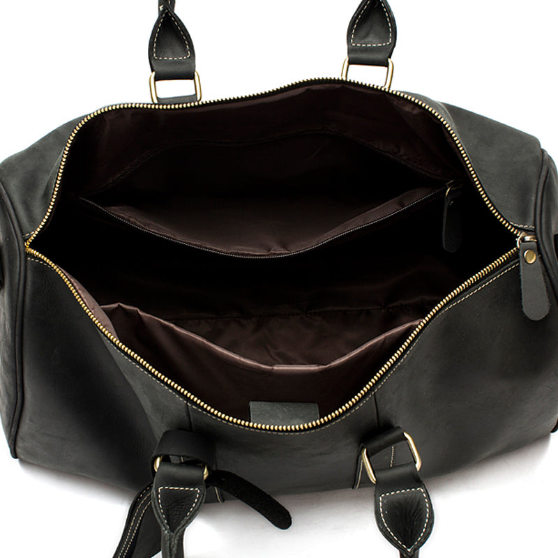 Leather Weekend Duffle Black Top View Open Inside