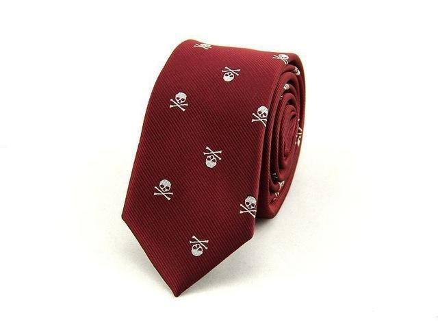 Men's Skull Neck Tie Dark Red