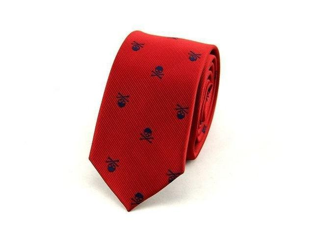 Men's Skull Neck Tie Red