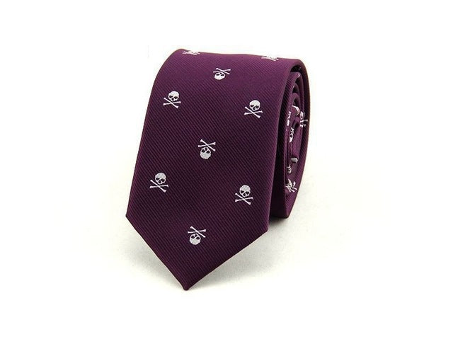 Men's Skull Neck Tie Purple