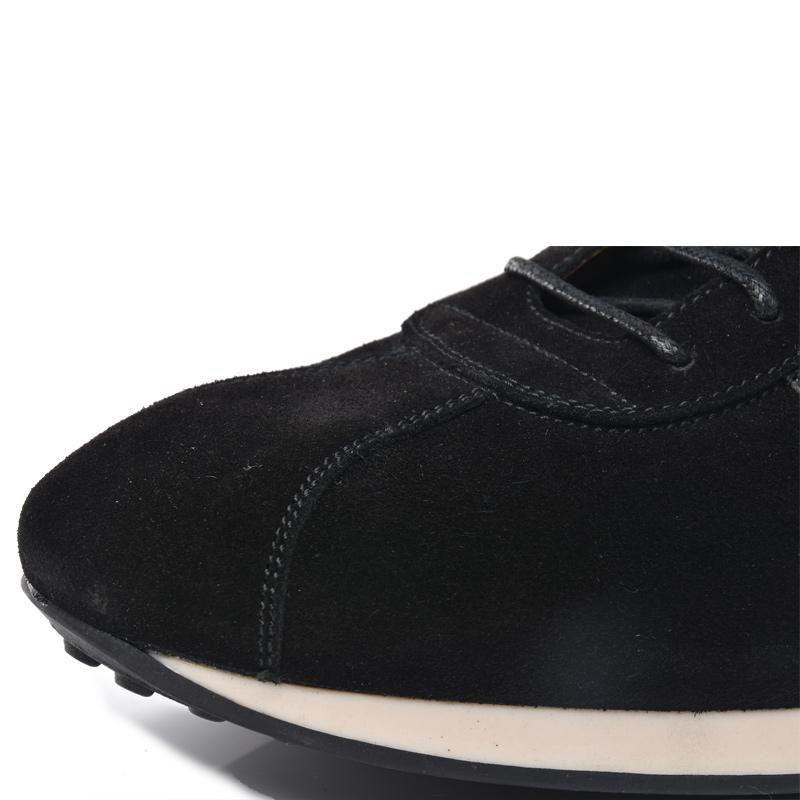 Suede and Mesh Low-top Sneakers Black Round Toe