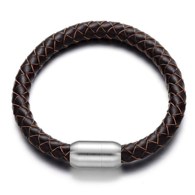 8mm Genuine Leather Rope Bracelet Brown Braided