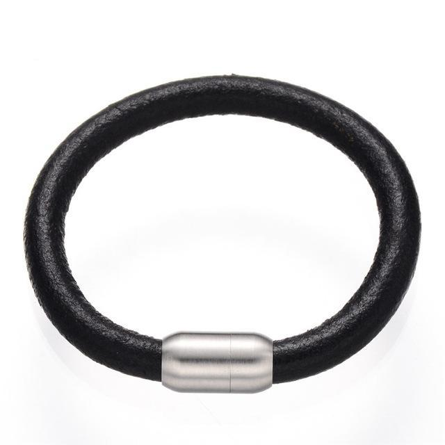 8mm Genuine Leather Bracelet Black