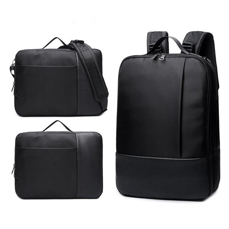 2-In-1 Laptop Briefcase Convertible Backpack Black 3 Images Backpack Briefcase Messenger Views