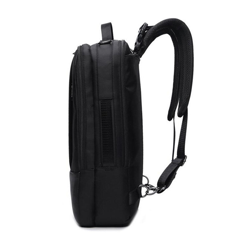 2-In-1 Laptop Briefcase Convertible Backpack Black Side View