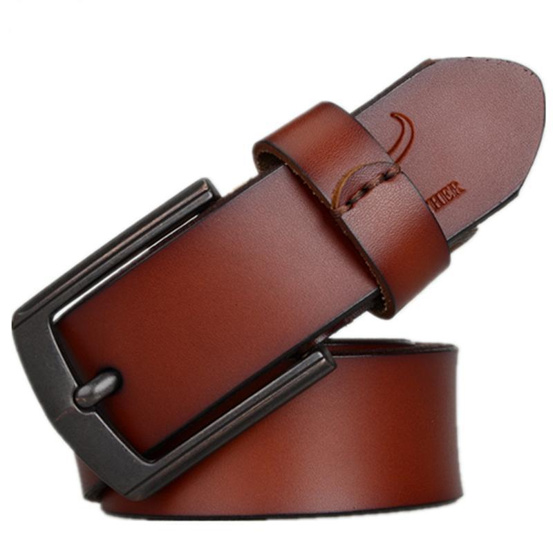 3.6cm Men's Genuine Leather Belt Brown