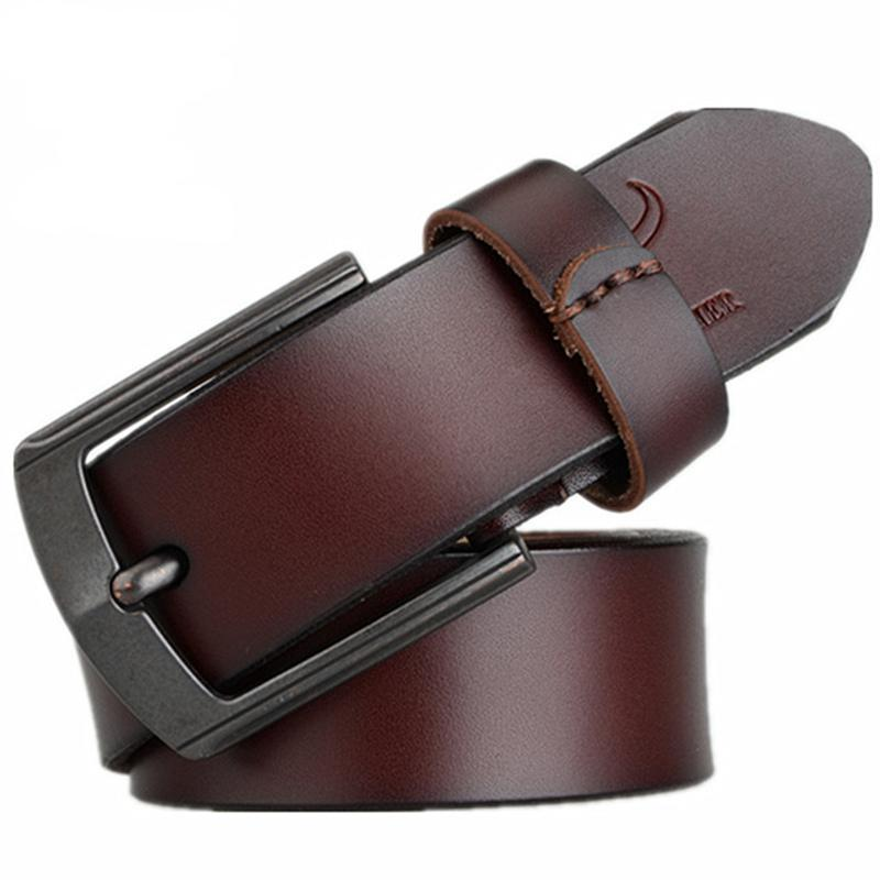 3.6cm Men's Genuine Leather Belt Coffee