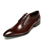 GENUINE LEATHER POINTED-TOE DERBY SHOES