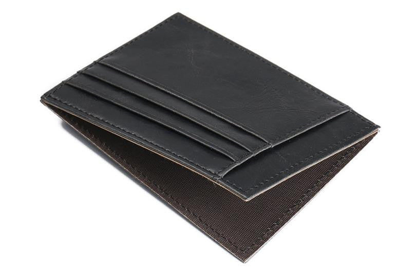 Men's Card Case Black Open View
