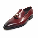 genuine leather tassel slip-on with leather lining