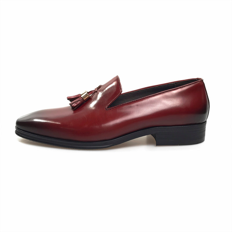 genuine leather tassel slip-on with rubber sole