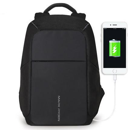 Secure Backpack With USB Charging Port Black Front