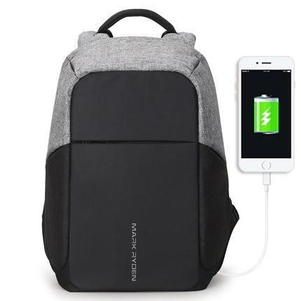 Secure Backpack With USB Charging Port Grey Black Contrast Front