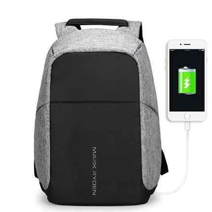 Secure Backpack With USB Charging Port Grey Black Contrast