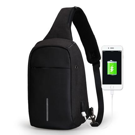 Sling Bag With USB Charging Port Black