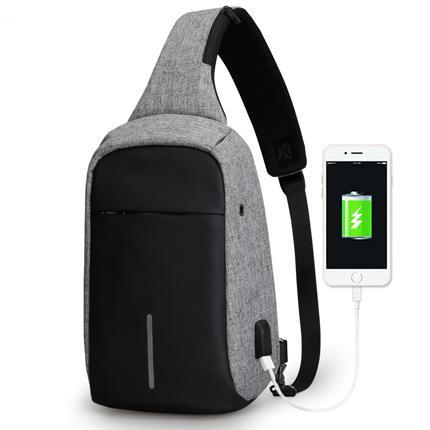 Sling Bag With USB Charging Port Grey