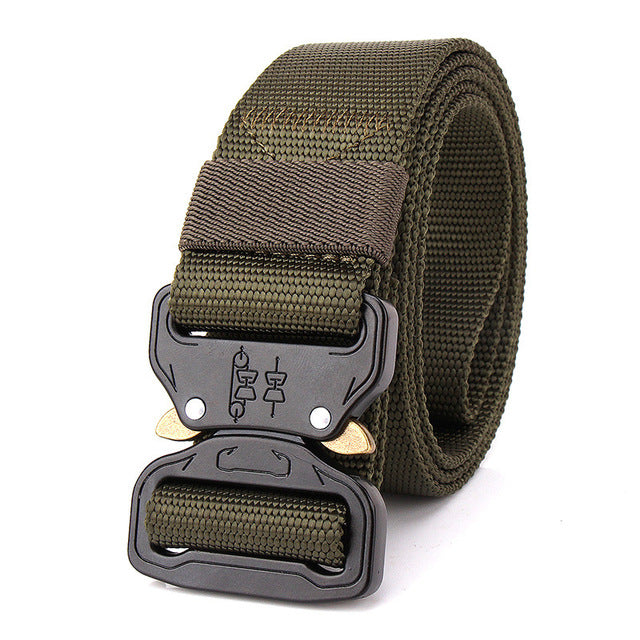 3.8cm Men's Nylon Adjustable Belt Army Green With Black Metal Buckle