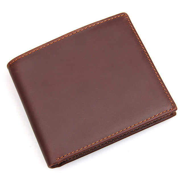 Men's Genuine Leather Billfold Red Coffee