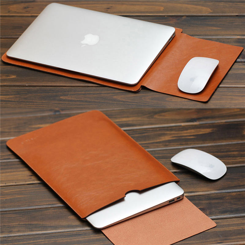 Laptop Sleeve Tan With Laptop And Mouse Demonstration