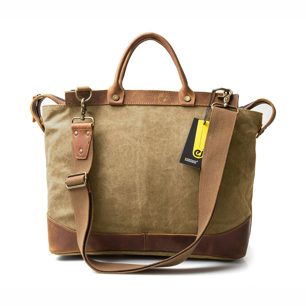 Canvas And Leather Briefcase Tan