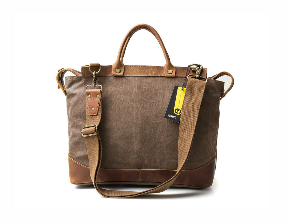 Dark Canvas And Leather Briefcase With Shoulder Strap
