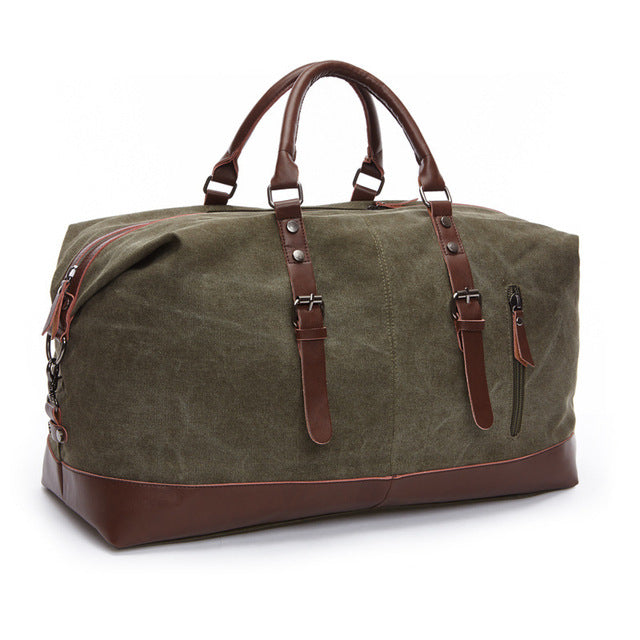Canvas And Leather Duffle Green