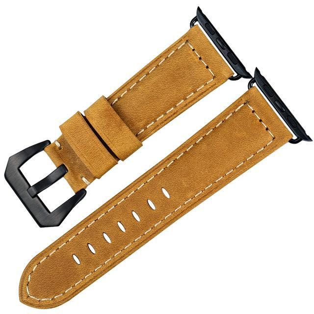 Genuine Leather Watch Band For Apple Watch, 38MM Wheat