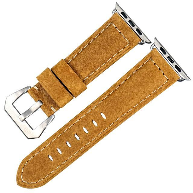 Genuine Leather Watch Band For Apple Watch, 42MM Wheat