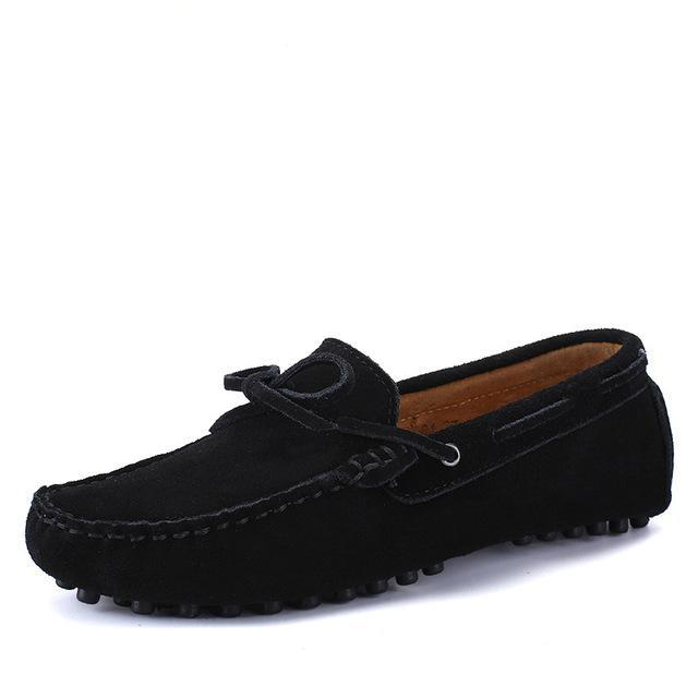 Tie Detail Suede Driving Shoes Black