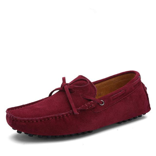 Tie Detail Suede Driving Shoes Dark Red