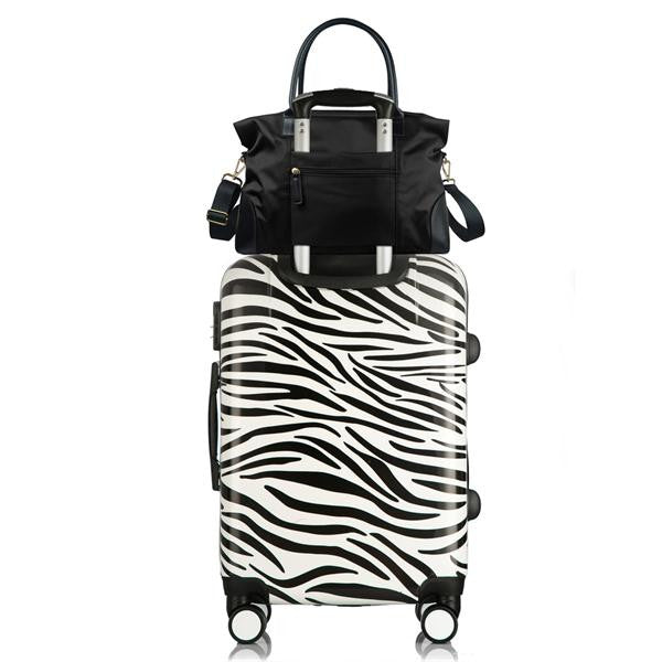 Nylon Weekend Travel Bag Black Using Carry-On Sleeve Demonstration
