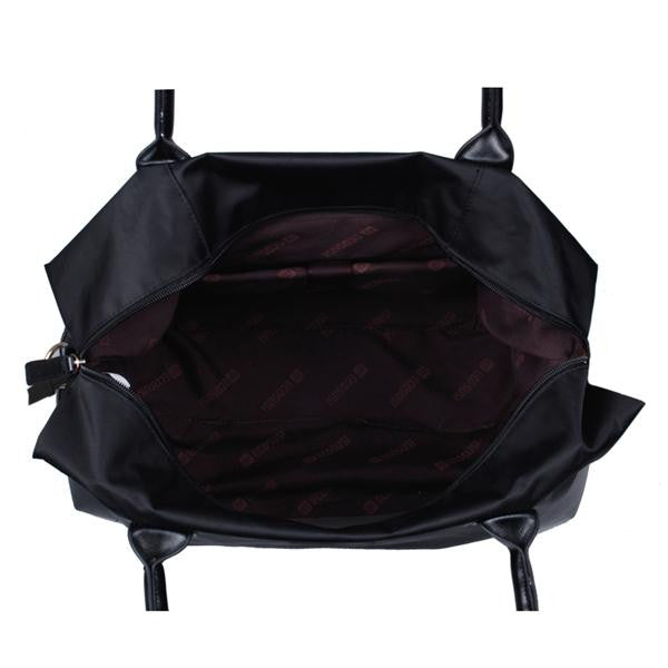 Nylon Weekend Travel Bag Black Top View Open Inside