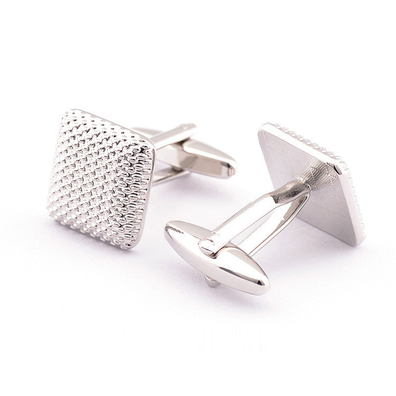 Silver Textured Cufflinks Side
