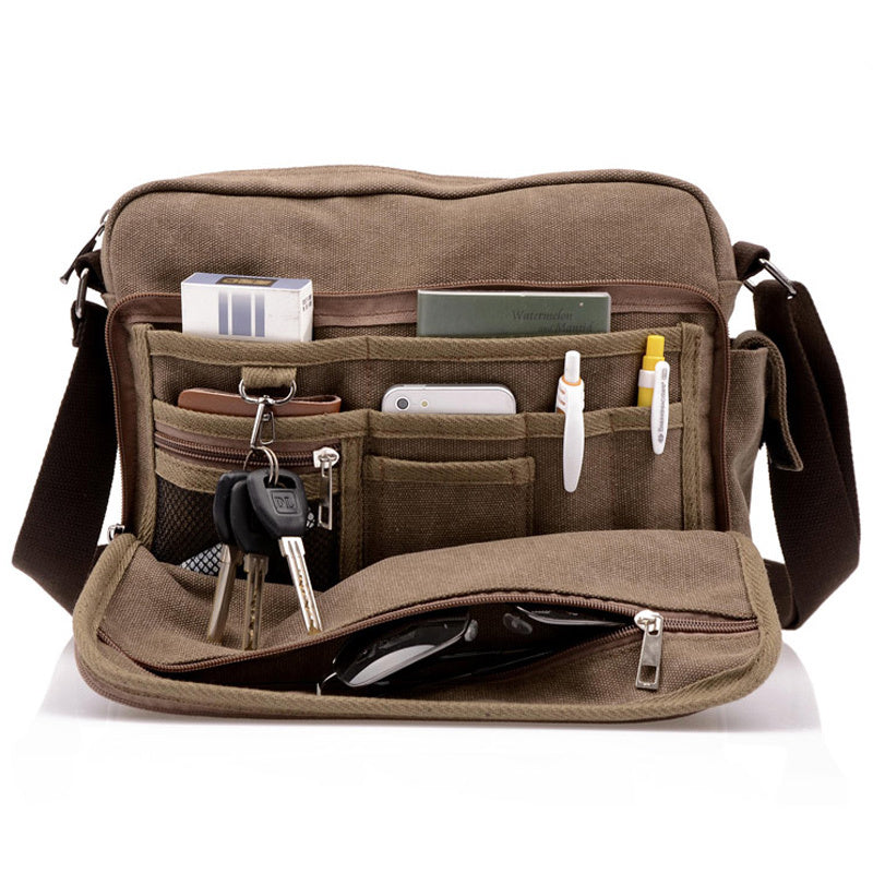 Canvas Messenger Bag Coffee Front Pocket Open With Packed Items